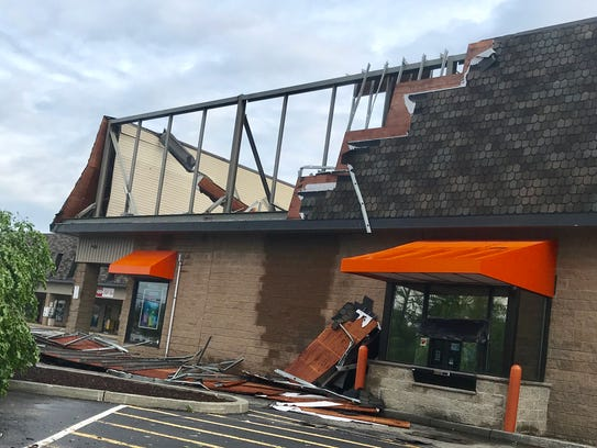 A storm damaged Dunkin' Donuts on Route 52 in Kent