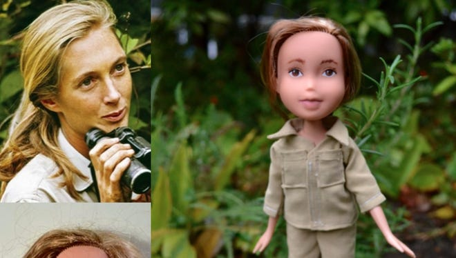 A Bratz doll that was repurposed to look like a young Jane Goodall.