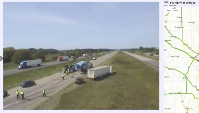 Injuries resulted from a bus-semi collision on Interstate 94 near Albertville on Thursday.