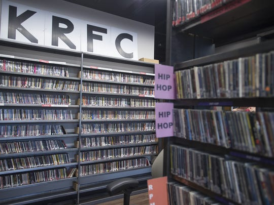 Rows of CDs sit in the music library at KRFC Public Radio on Friday, March 10, 2017. The community radio station and its 30,000 CDs, has moved into a new home at The Music District on College Avenue.