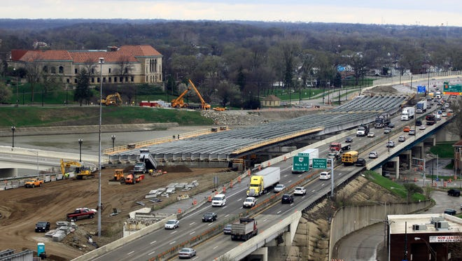 This April 14, 2014, file photo shows a section of the I-75 Phase II modernization project underway in Dayton, Ohio. An amended highway bill passed the Senate on July 29, 2014, and now heads back to the House.