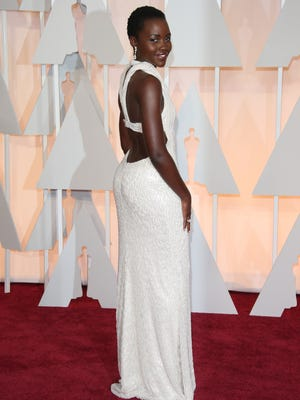 Lupita Nyong'o arrives at the 87th annual Academy Awards at the Dolby Theatre.