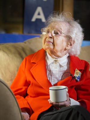 103-year-old Ruline Steininger watches election results come in Tuesday, Nov. 8, 2016.