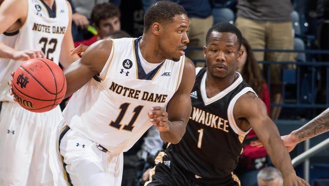 Notre Dame's Demetrius Jackson (11) dribbles against UW-Milwaukee's Jordan Johnson in the first half Tuesday.