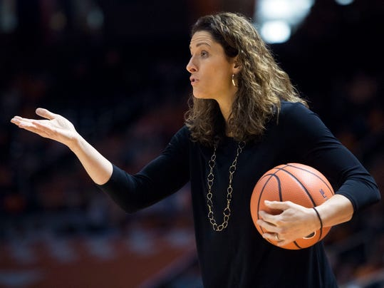 Vanderbilt head coach Stephanie White gives directions during an NCAA college basketball game against Tennessee in Knoxville, Tenn., on Sunday, Jan. 7, 2018. (Saul Young/Knoxville News Sentinel via AP)