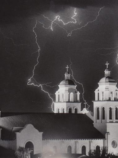St. Mary's Roman Catholic Basilica is illuminated by