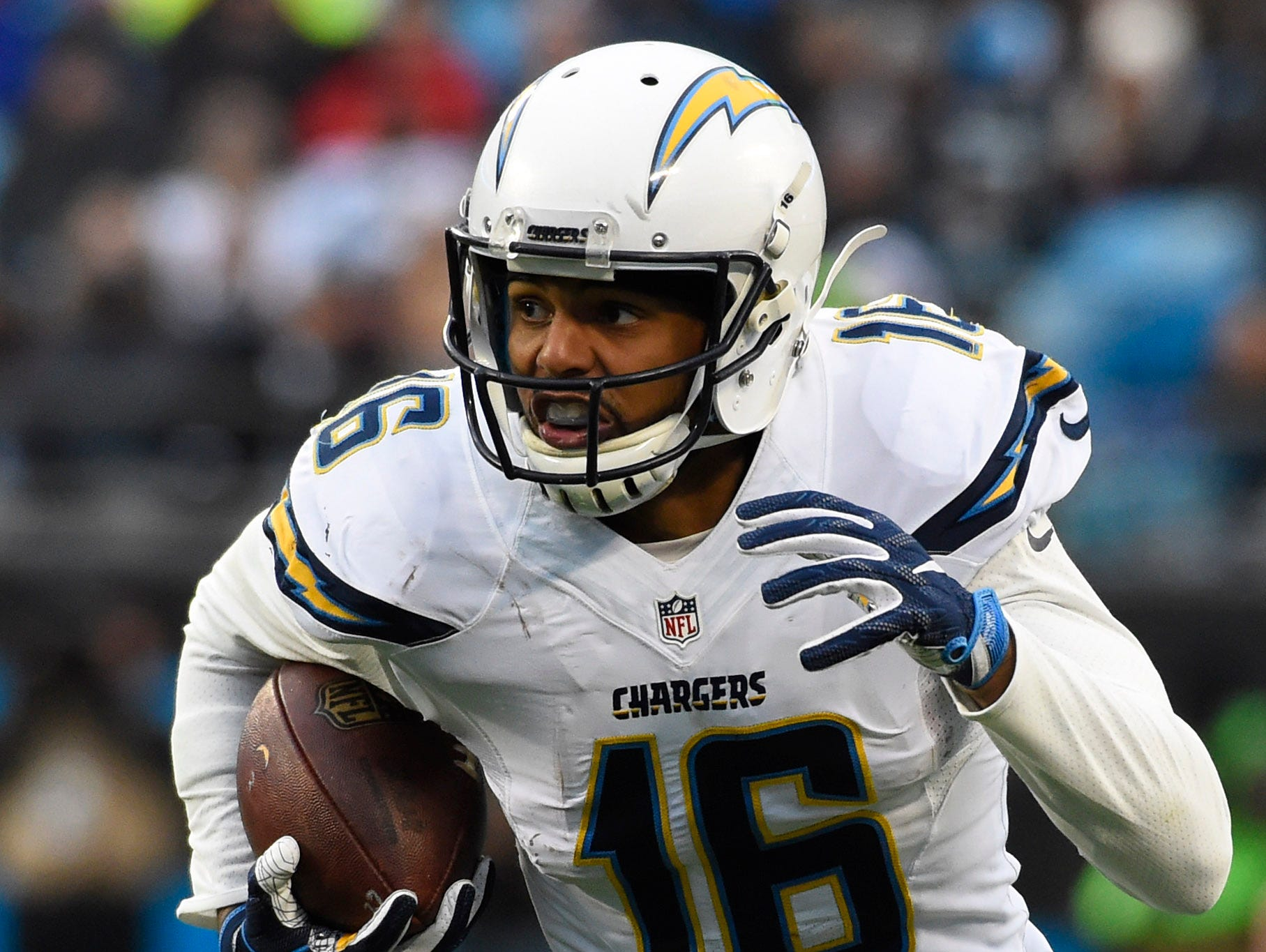 Dec 11, 2016; Charlotte, NC, USA; San Diego Chargers wide receiver Tyrell Williams (16) with the ball in the third quarter at Bank of America Stadium.