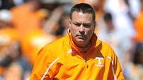 Coach Butch Jones directs the action as the University of Tennessee plays in the Orange and White game at Neyland Stadium. Saturday April 12, 2014, in Knoxville, TN.