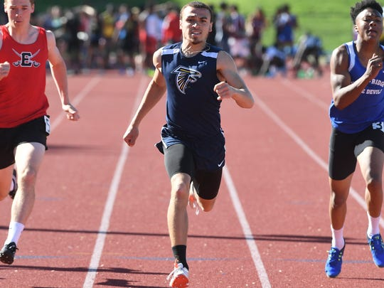 First day of Bergen County Track Championships at Old Tappan High School on Friday, May 11, 2018. Sean Roberts, of Saddle Brook, on his way to finishing first in his division of the 100M.