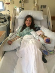 Alayna Troha undergoing her procedure to donate bone