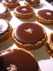 Chocolate salted caramel tarts from The Flaky Tart