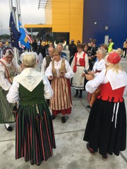 Local women dresed in traditional Swedish costumes