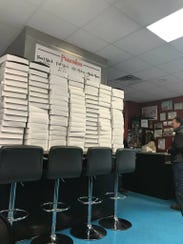 Pies stacked high and ready for sale at Strawn's Eat