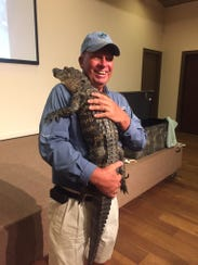 Naturalist Bob McConville with a prop at a previous