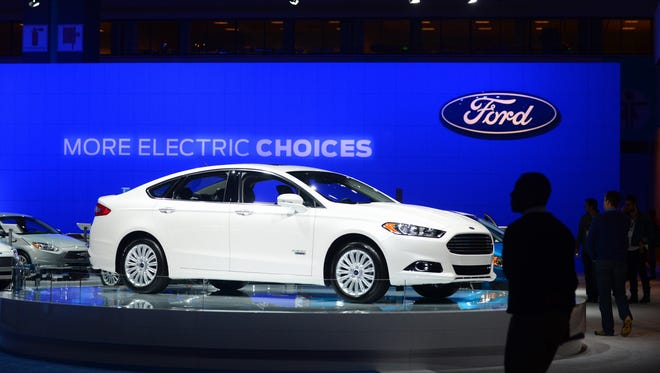 The 2014 Ford Fusion Energi  is displayed on November 21, 2013 at the LA Auto Show in Los Angeles.