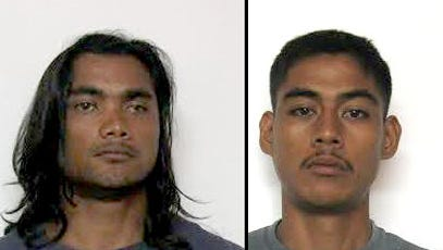 Curtis James Taitano Mendiola, left, and Victor Steven Ayuyu Mendiola are shown in this combined photo.
