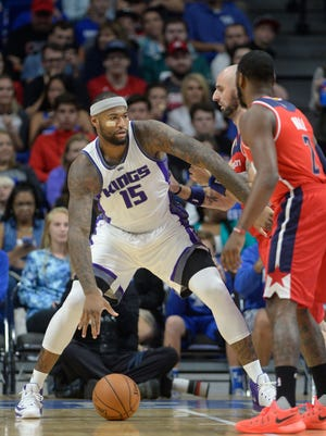 The Kings' DeMarcus Cousins controls the ball during the NBA preseason game between the Kings and Wizards at Rupp Arena in Lexington, KY on Saturday, October 15, 2016.