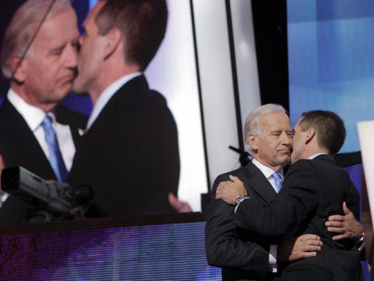 Joe Biden is embraced by his son Beau after being introduced