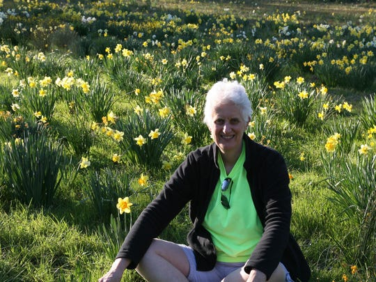 Claire White photographed in a northeastern Louisiana daffodil field.