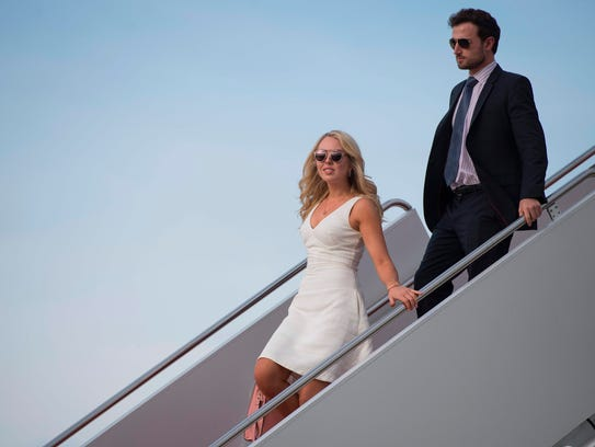 Tiffany Trump and her boyfriend Ross Mechanic walk