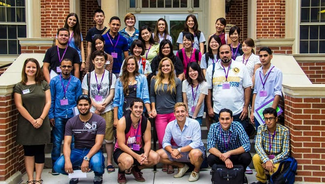 Ali Alnasser posed with other international students at the University of Northern Iowa.