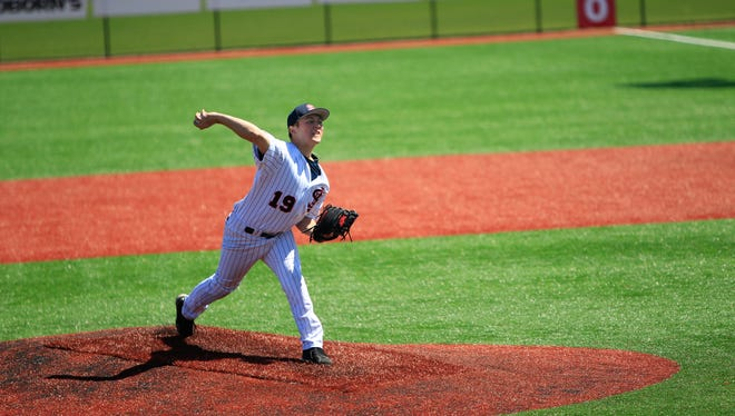 St. John's University's Jake Dickmeyer delivers a pitch earlier this season in Collegeville. Dickmeyer, a sophomore from Woodbury, is 6-1 with a 2.37 ERA in nine starts for the Johnnies going into the MIAC baseball tournament, which begins Thursday in Cold Spring and Collegeville.