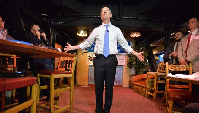 Former Maryland governor Martin O'Malley addresses potential supporters during an appearance at a meeting of the New Hampshire Young Democrats in Nashua, N.H., during a campaign-style swing through the state.