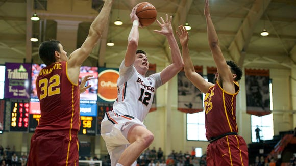Oregon State freshman forward Drew Eubanks, pictured in a game against USC last month, had a career-high 13 rebounds in Wednesday's 82-81 victory over Washington.
