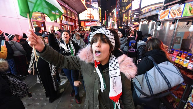 Protesters gather in NYC on Friday, Dec. 8, 2017 after Pres. Donald Trump recognized Jerusalem as the capital of Israel.