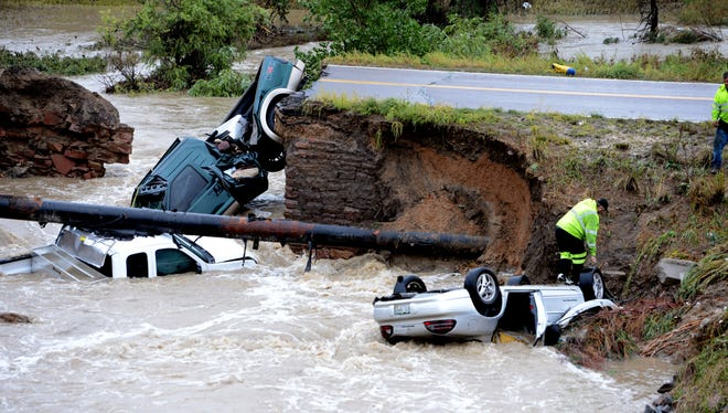 "A bridge collapsed after flash flooding at the Broomfield/Lafayette border in Colorado on Sept. 12. The flooding in Colorado earlier this month was ""unprecedented,"" according to a report."