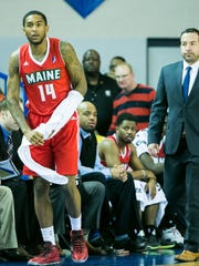 Former University of Delaware basketball player, Davon Usher, now in the NBA D-League with the Maine Red Claws, comes off the bench late in the fourth quarter as they play the Delaware 87ers at the Bob Carpenter Center.