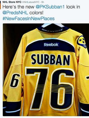 P.K. Subban's new Predators jersey.