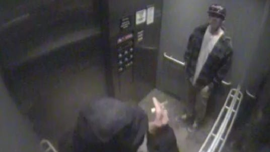 Greenville police are looking for two suspects accused of tagging property in downtown Greenville.