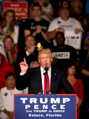 Republican candidate for President of the United States Donald Trump speaks during his campaign rally at Germain Arena Monday, September 19, 2016 in Estero.