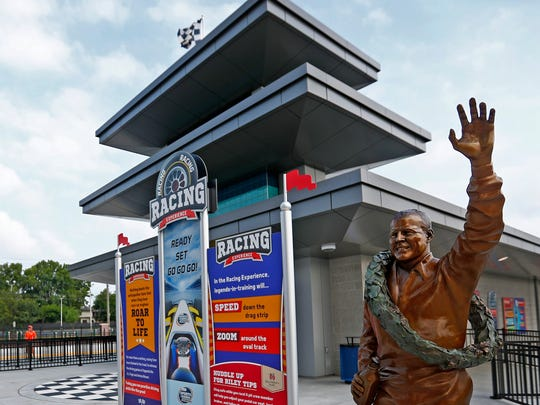 A.J. Foyt is portrayed in one of the new bronze statues of iconic Indiana sports legends to be unveiled Tuesday, July 24, 2018, in the Riley Children's Health Sports Legends Experience area at the Children's Museum of Indianapolis.
