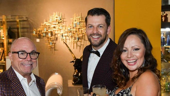 Shown at Modernism Week's Opening Night Reception are participants Chris Menrad, Danny Heller and Tracy Beckmann.
