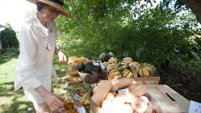 Anita Walling examines some of the produce on the tasting table at Full Sun Farm during ASAP's annual farm tour.
