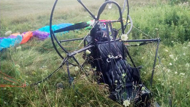 James Diebold Jr., 68, was trying to take off from a grass runway in Fairview Township in this Powrachute Sky Rascal when it crashed.