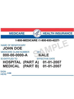 A sample Medicare card.