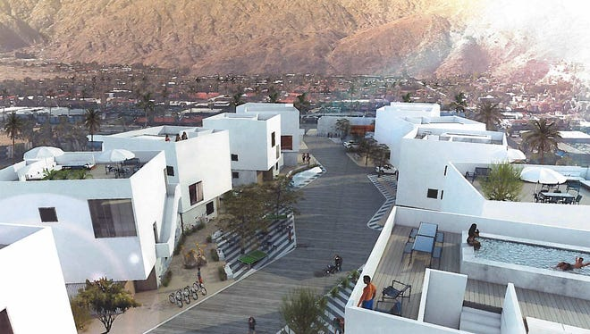 An architect's rendering of a proposed hotel project that would place 14 villa units on an empty lot in downtown Palm Springs.