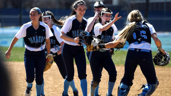 Glen Rock at Paramus on Saturday, March 31, 2018. (center) P #24 Samantha Settecasi and teammates celebrate after defeating GR.