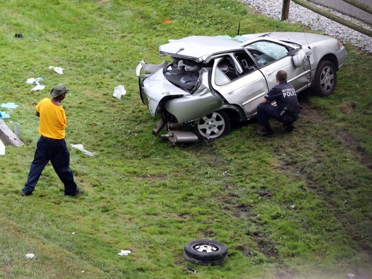 One of the cars involved in a two-car accident on Saw