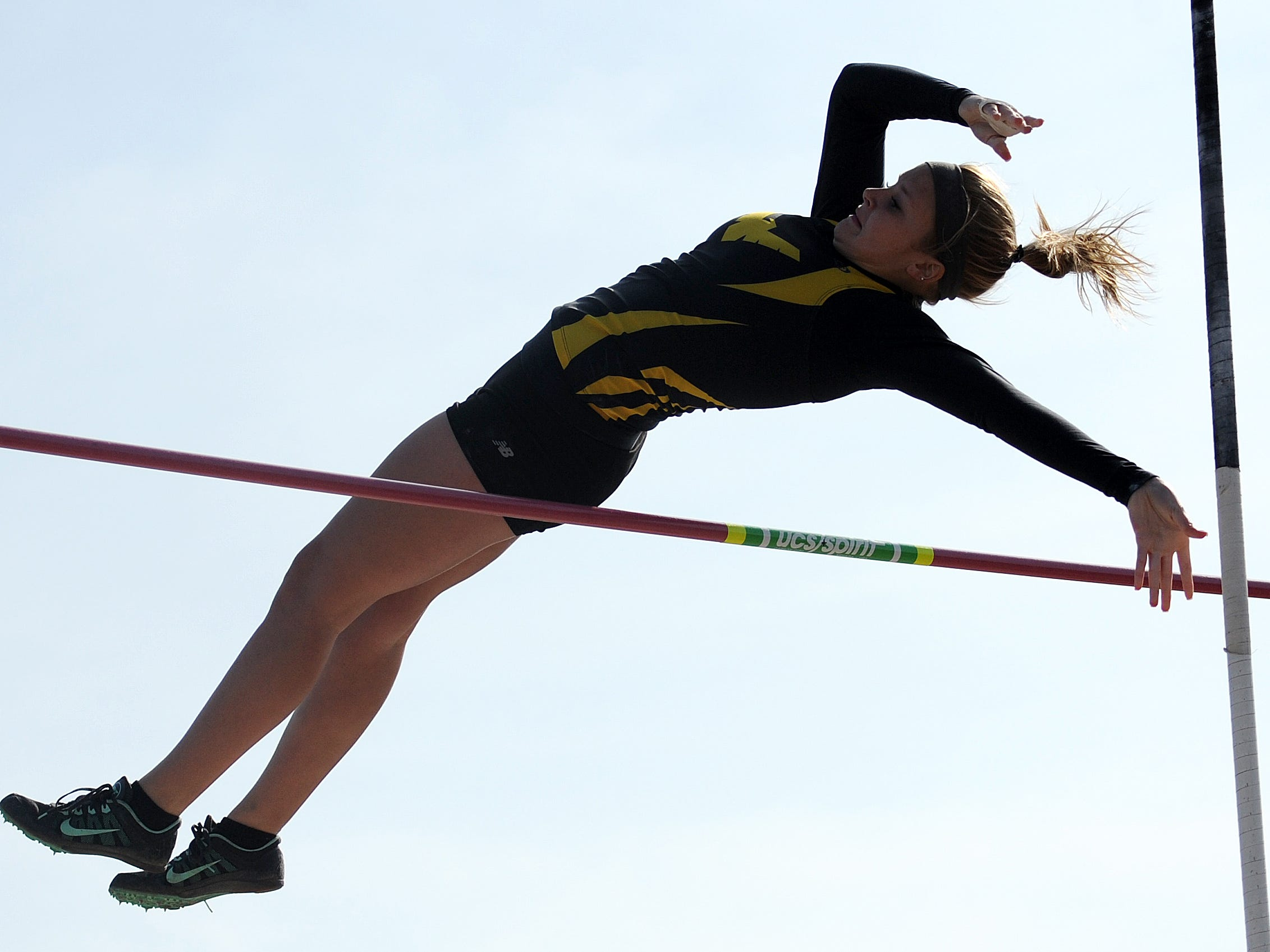 Alex Carter competes in the pole vault for Colonel Crawford Friday evening during the Crawford County Track Meet.