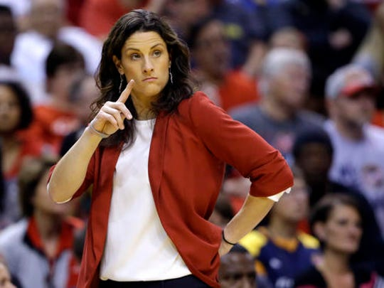 FILE - In this Oct. 11, 2015, file photo, Indiana Fever head coach Stephanie White watches from the sidelines in the first half of Game 4 of the WNBA Finals basketball series against the Minnesota Lynx, in Indianapolis.   On Sunday, Sept. 18, 2016,  White will say farewell to the WNBA in her final regular-season home game.(AP Photo/Michael Conroy, File)