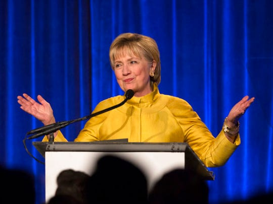 FILE - In this April 20, 2017 file photo, former Secretary of State Hillary Clinton speaks in New York. Clinton said Tuesday, May 2, 2017, that she's taking responsibility for her 2016 election loss but believes misogyny, Russian interference and questionable decisions by the FBI also influenced the outcome.