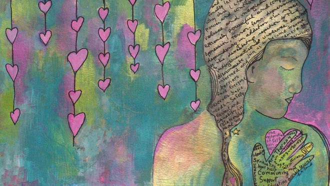 """Art therapist Gina Baird created this piece for the """"Showing Hope"""" art exhibit at the Athenaeum Theater."""