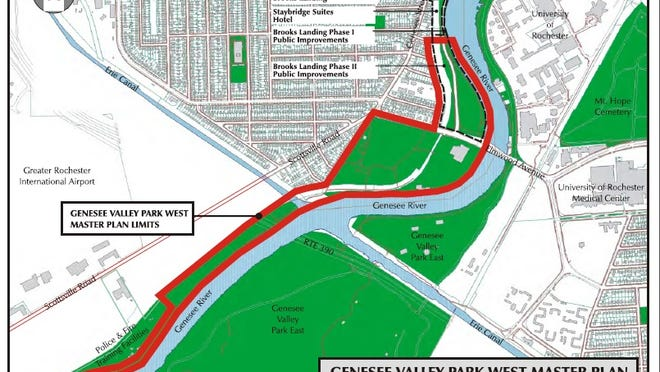 The Genesee Valley Park West Master Plan encompasses the area outlined in red.