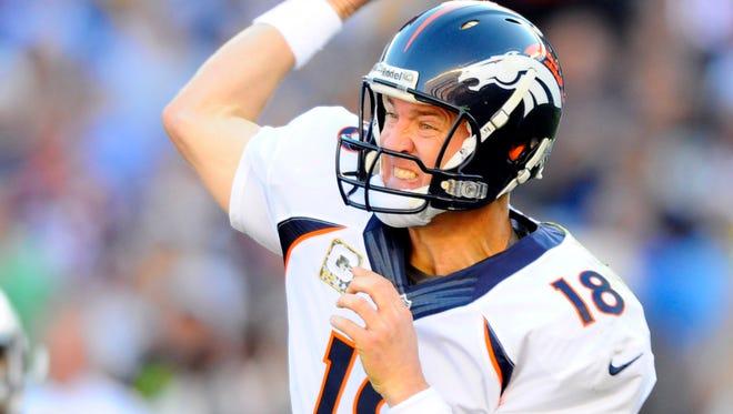 Broncos quarterback Peyton Manning has thrown for 3,249 yards and 33 touchdowns this season.