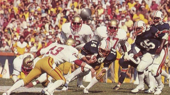Florida State's Brian McCrary moves in on a tackle against Auburn.