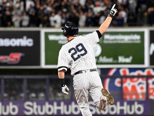 ALCS Game 3: Astros at Yankees - Yankees third baseman Todd Frazier hits a three run home run in the second inning.